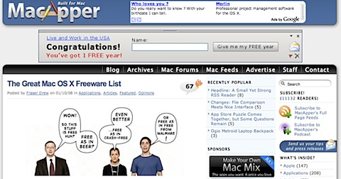 200808070038 Tidenes kilde liste over gratisprogrammer for Mac