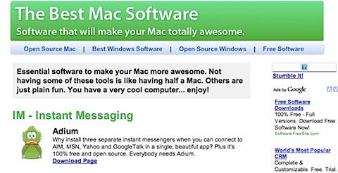 200808070049 Tidenes kilde liste over gratisprogrammer for Mac