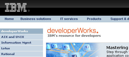 developerWorks - skjermbilde