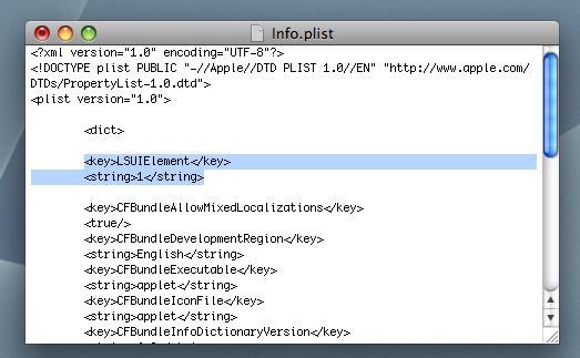 Slik redigerer du plist-filen slik at det ene ikonet blir skjult (skjermdump).