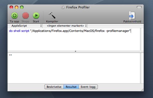 En linje med applescript er alt som skal til (skermdump).