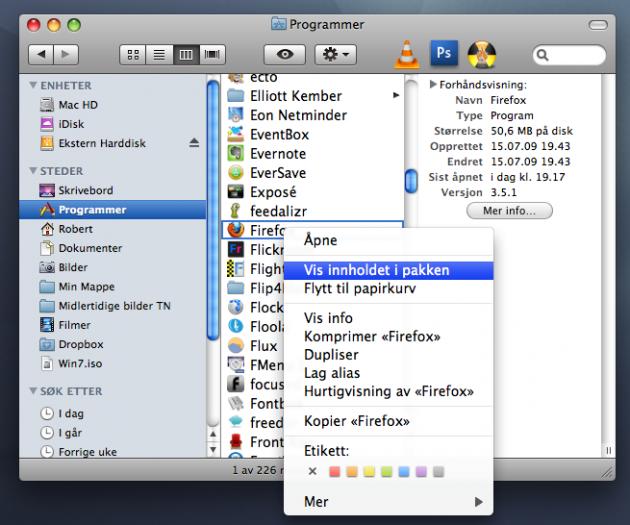 Høyreklikk på Firefox-ikonet og velg 'Vis innholdet i pakken' (skjermdump).