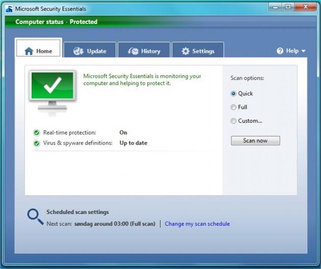Microsoft Security Essentials 630x528 Prøv ut Microsofts gratis antivirus