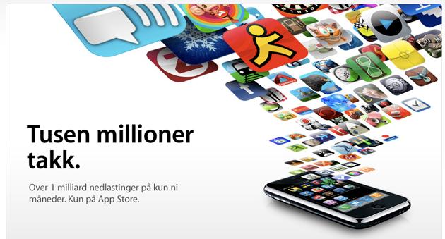 appstore millard En milliard nedlastninger fra AppStore