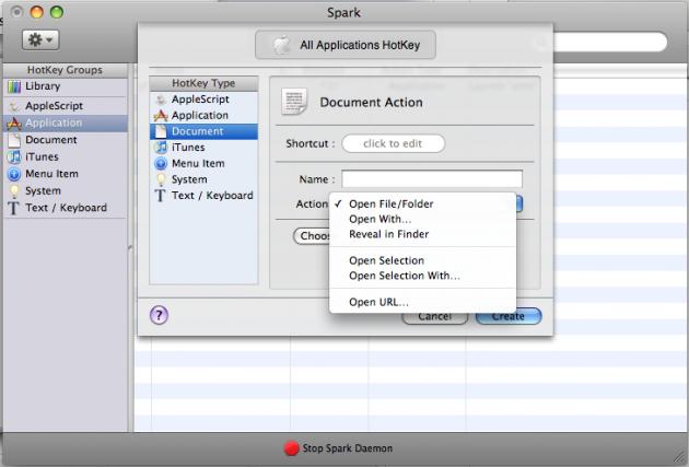 """Her kan man se valgene man kan lage snarveier fra i """"Document""""-kategorien (foto: Bitnett.no)."""
