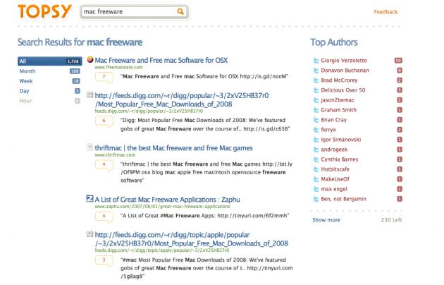 """Her har vi søkt på nøkkelordene """"Mac freeware"""", man får da opp de mest populære lenkene (foto: Bitnett.no)."""