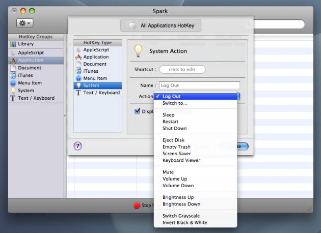 "Man har mange valgmuligheter under ""System""-kategorien til Spark (foto: Bitnett.no)."