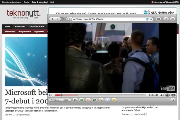 Man kan også se video fra f.eks. YouTube i et eget vindu (foto: Bitnett.no).