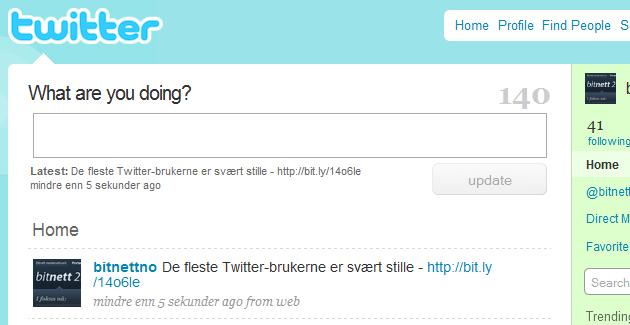 De fleste på Twitter er nesten helt stille, ifølge ny rapport. Ovenfor ser du Bitnetts Twitterside.