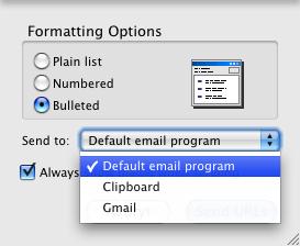 Bildet: Her velger du hvordan lenkene skal formateres, og hvor de skal sendes.