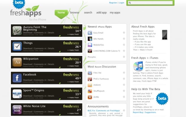 freshapps 630x395 FreshApps: Digg klone for AppStore programmer.