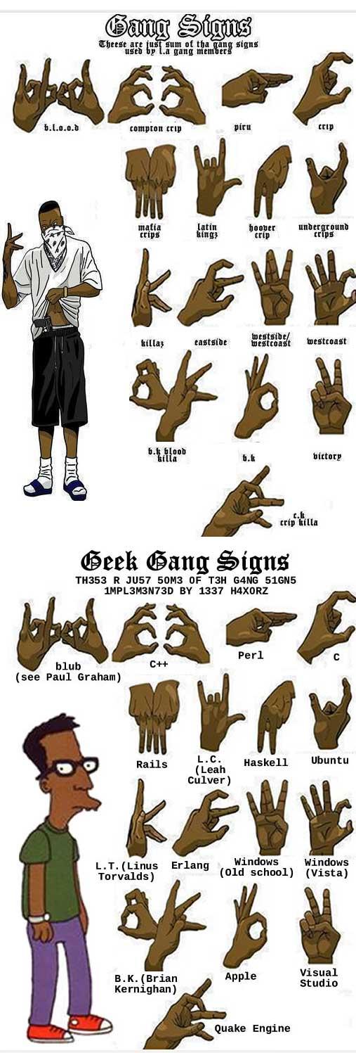 geek signs LA Gangster tegnspråk VS Nerde tegnspråk