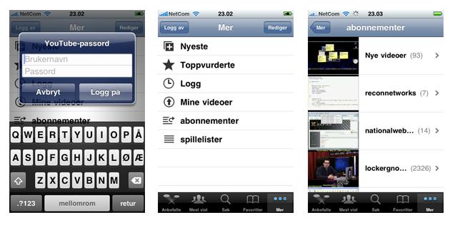 iPhones applikasjon for Youtube var nærmest ubrukelig før OS 3.0, nå først kan man logge inn (foto: Bitnett.no)