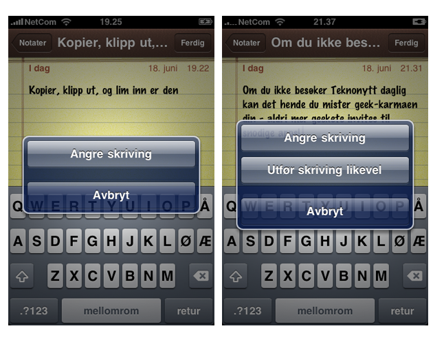 Apple har lagt til to nyttige funksjoner som brukes ved å riste telefonen - Shuffle og Angre (foto: Bitnett.no)