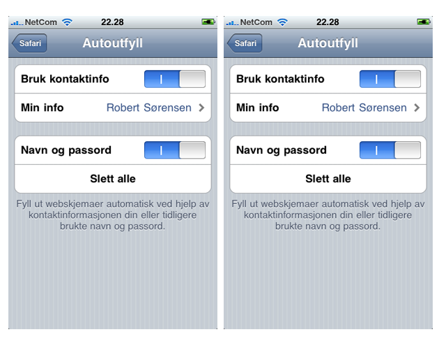 iPhone3.0 autofill Tips og triks for iPhones 3.0 oppdatering