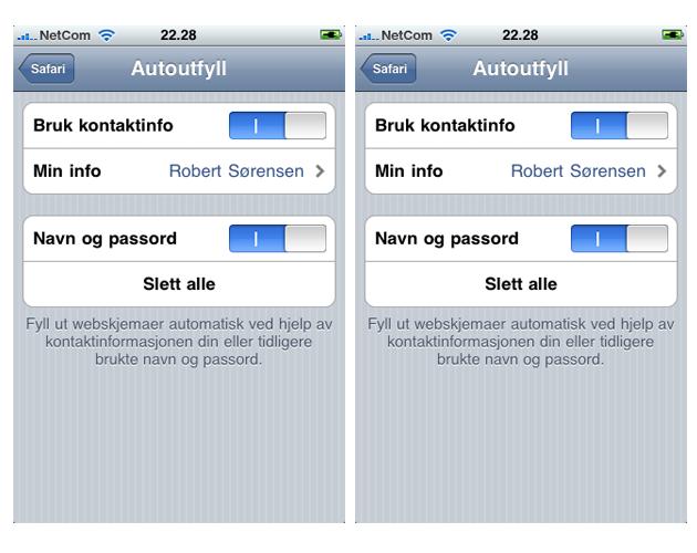 iPhone3.0 autofill Tips og triks for iPhones 3.0 oppdatering