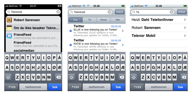 iPhone3.0 spotlight Tips og triks for iPhones 3.0 oppdatering
