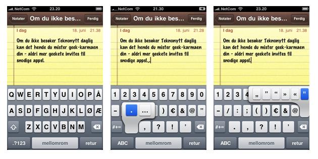 iPhone3.0 tastatur Tips og triks for iPhones 3.0 oppdatering