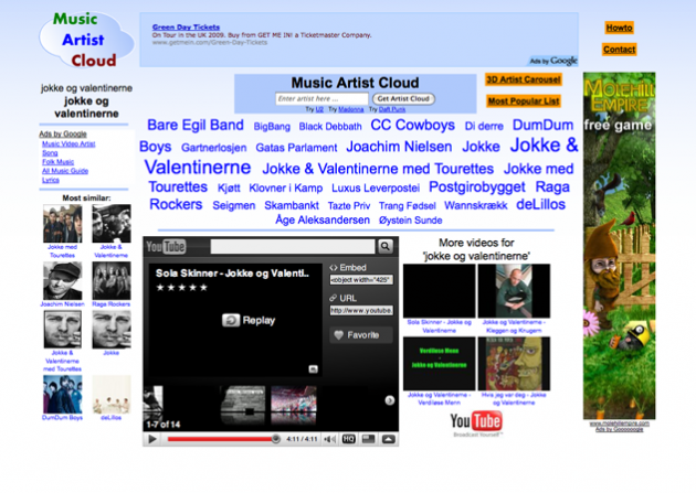 Bildet: Music Artist Cloud lar deg raskt og enkelt finne interessant musikk