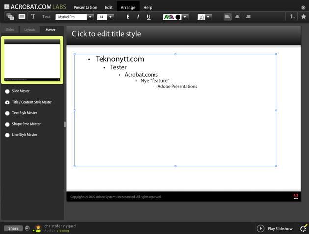 Intuitivt: Det er enkelt å finne ferdigmodeller og skrive inn titler/tekst i Presentations.
