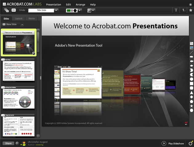 Pent: Adobe Presentations fyller et hull i Adobes kontorpakke, Acrobat.com. Klikk bildet for å forstørre.