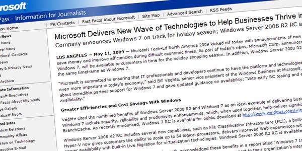 press release Microsoft bekrefter Windows 7 debut i 2009