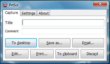 Enkelt og oversikteleg grensesnitt i PrtScr