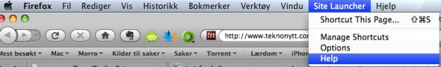Bildet: Du finner SiteLaunchers menyer i Firefox' menylinje.
