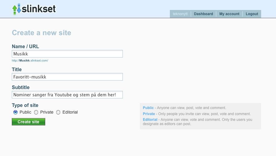 slinkset reg Slinkset: Lag din egen Digg klone eller andre stemmebaserte nettsider