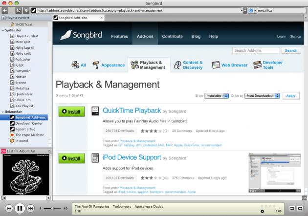 songbird addons 630x442 Songbird har blitt voksen   Erstatter for iTunes?