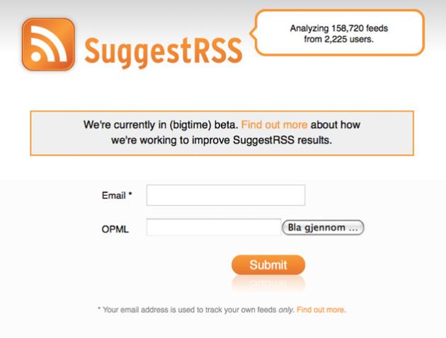 Bildet: Her sender du inn dine rss-strømmer, og registrerer din epost-adresse