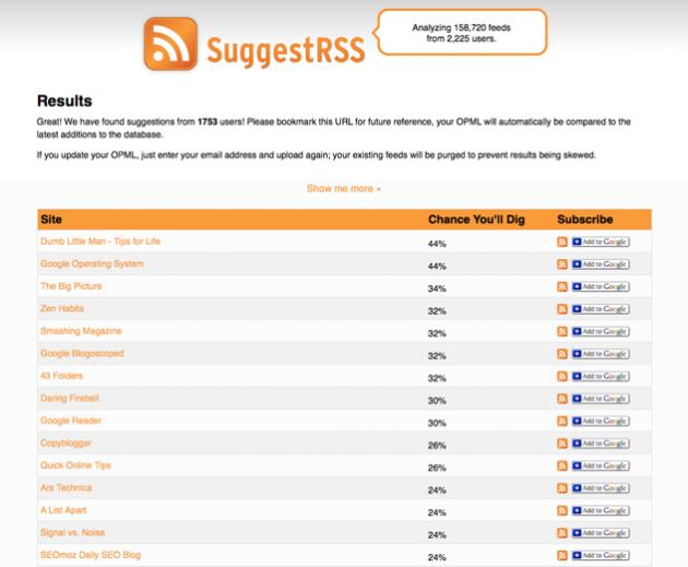 Bildet: Resultatlisten i SuggestRSS - rss-strømmene er sortert etter sannsynligheten for at du liker dem