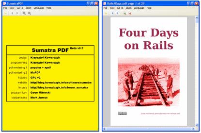 Enkelt grensesnitt er noko som går att i SumatraPDF