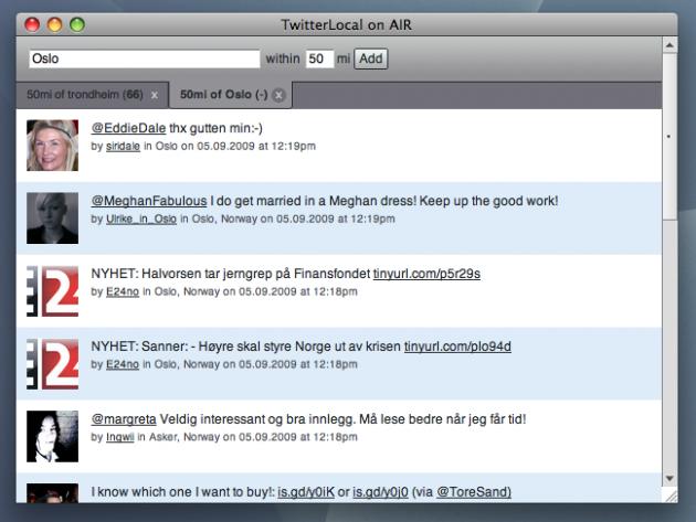 En Adobe Air-applikasjon som lar deg se Twitter-meldinger fra angitt område.