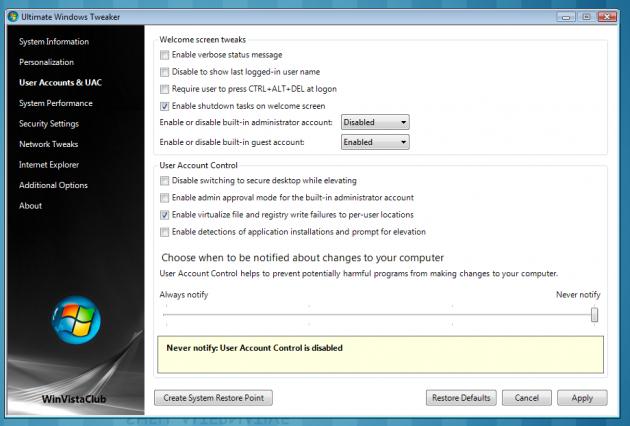<i>Ein får til og med Windows 7-liknande val for UAC</i>